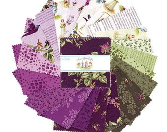 """Anne of Green Gables   5"""" Charm Pack   Riley Blake Designs   5"""" Charm Square Bundle   Quilters Cotton   42 Fabrics"""