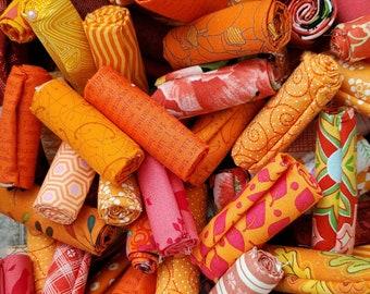 Orange Fabric Scraps, a half dozen or a Bakers Dozen fabrics, stash builder, orange fabric, 9x10, 10x10, 9x11, fat 16ths, fat sixteenths