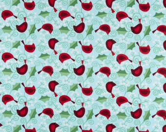 Very Merry Cardinals Teal from Very Merry by Kim Schaefer for Andover Fabrics - 100% Cotton Quilting Fabric, sold by the 1/2 yard, TP-9396-T