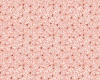 Meadow Leaves Pink from Goose Creek Gardens by Michal Marko for Poppie Cotton, WF20810 Meadow Leaves Pink- 1/2 Yd cuts, 100% cotton,