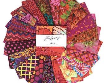 "Kaffe Fassett Equator, 5"" charm pack, Quilt Fabric, Free Spirit Fabric, Cotton Fabric, 42 Pc"