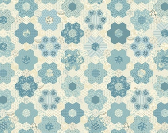 Bluebird by Edyta Sitar, Color - Mountain Blue, Pattern - Grandmother's Garden, 1/2 yd, by Andover Fabrics, A-9849-B, Cheater Fabric