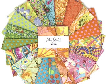 "Kaffe Fassett Parakeet, 5"" charm pack, Quilt Fabric, Free Spirit Fabric, Cotton Fabric, 42 Pc"