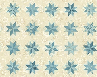 Bluebird by Edyta Sitar, Color - First Snow, Pattern - North Star, 1/2 yd, 100% Cotton by Andover Fabrics, A-9848-LB, Cheater Fabric
