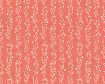 New Dawn Clover Stripe Coral by Citrus & Mint Designs for Riley Blake Fabrics - 100% Cotton Quilting Fabric, sold by 1/2 yard, C9854-CORAL