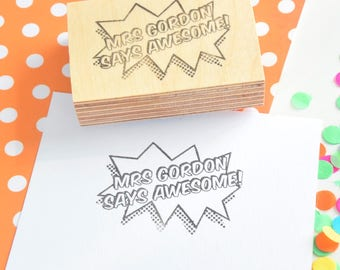 Pop Art Teacher Stamp - your name and message - Custom Reward Rubber Stamp - Personalised Grading Stamp