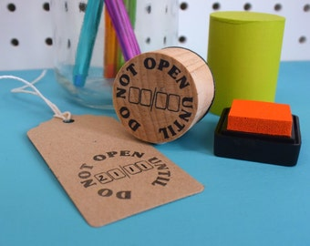 Do Not Open Until Rubber Stamp - gift wrapping stamp - Christmas stamp - xmas - brithday stamp - gifting