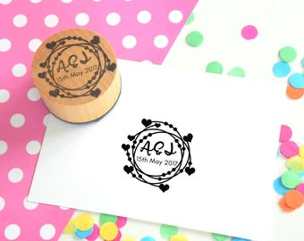 Loops and Hearts Couple Stamp - Save the date - wedding favor stamp - wedding rubber stamp - wedding stationery