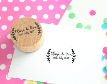 Laurel Border Couple Stamp - Save the date - wedding favor stamp - wedding rubber stamp - wedding stationery