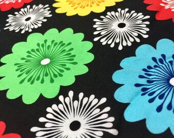 SALE! Stylized multicolored Exclusively Quilters brand floral black background cotton fabric yardage remnant