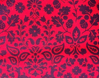 SALE! Vintage red and black small scale jacobean floral acorn print cotton upholstery fabric 1.5+ yard remnant