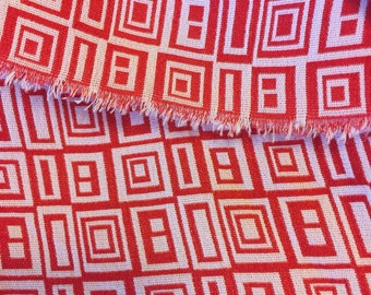 SALE! Red and white rectangles and squares mod double faced drapey high quality polyester designer fashion fabric
