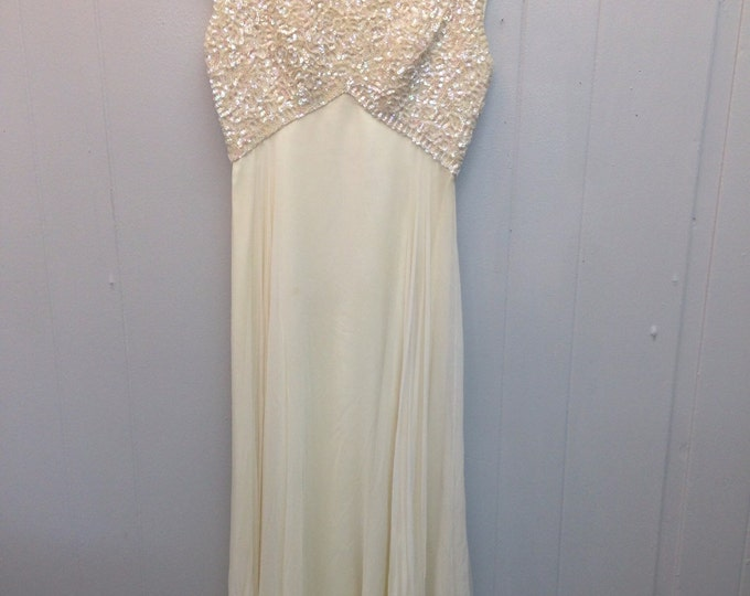 1960s Mike Benet Formal White Gown with Sequins