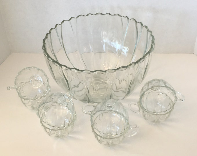 Vintage Punch Bowl with 8 Cups