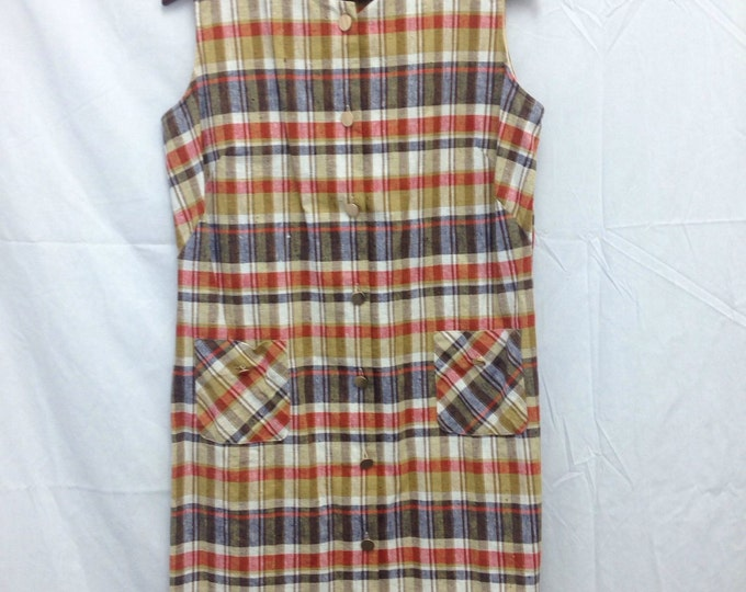 1960s Lady Wrangler sleveless plaid dress.