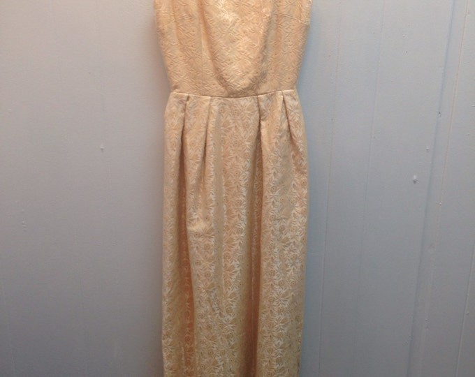 1960s Gold Formal Gown Sleevless with Flowers