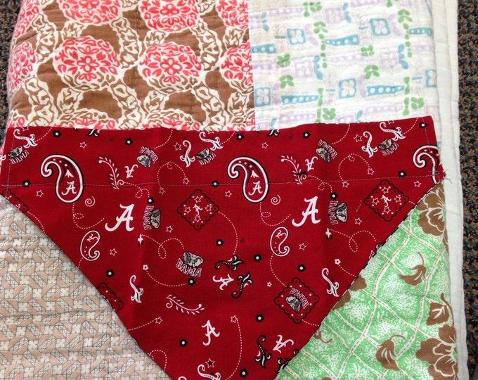 Dog collar Handkerchief. University of Alabama logo and paisley.