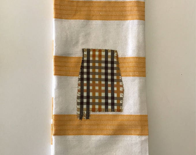 State of Alabama Tea Towel, yellows and browns