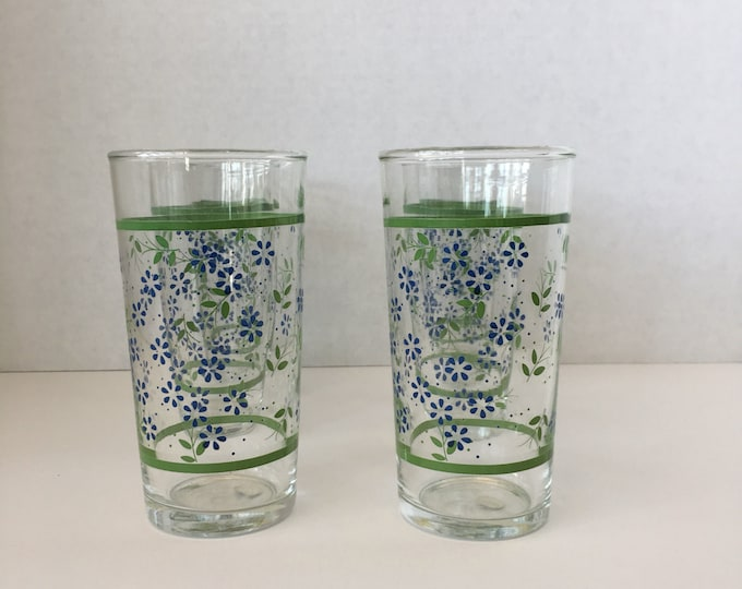 Set of 6 Vintage floral tumblers made in Mexico