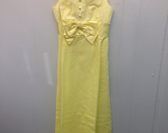 1960s Yellow Full Length Gown with Lace Top, Buttons and Bow