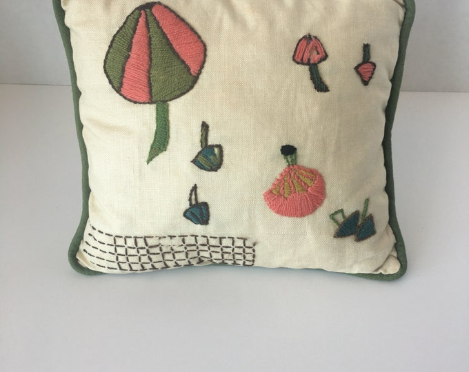 1960s Small Handmade Crewel Pillow with Mushrooms