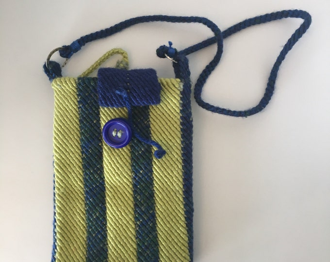 Messenger Bag. Hand woven acrylic thread, blue and green with strap and wristlet.