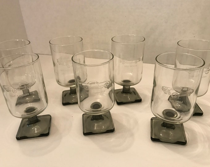 Set of 7 General Motors Car Collection Glasses