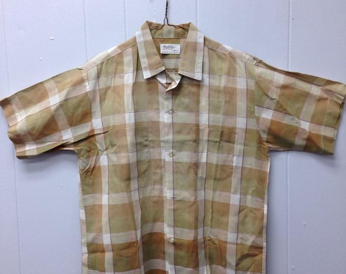 1950s Manhattan Mansmooth plaid button down shirt 100% cotton