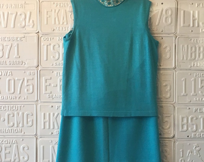 1960s Turquoise Knit Skirt with Krewel collar Sleeveless Top.