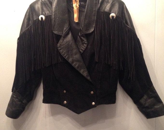 1980's crop black leather jacket with fringe