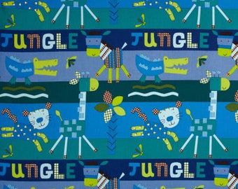 Gingham Jungle Pool Fabric Quilters Cotton Fabric