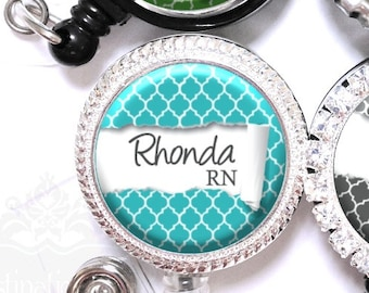 Quatrefoil Badge Reel - Personalized Ripped Paper Retractable Lanyard ID Holder in 6 Colors with Name, Monogram, Occupation Title (A261)