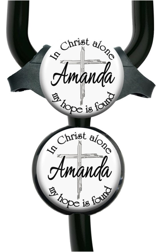 In Christ Alone My Hope Is Found Lanyard Id Reel with Name Personalized Badge Holder A500 Occupation Title Monogram