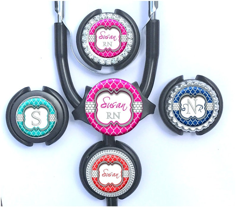 Personalized Quatrefoil Littmann Stethoscope Tag - Polka Dots Stethoscope  ID in 9 Colors with Name, Monogram, Occupation Title (A028)