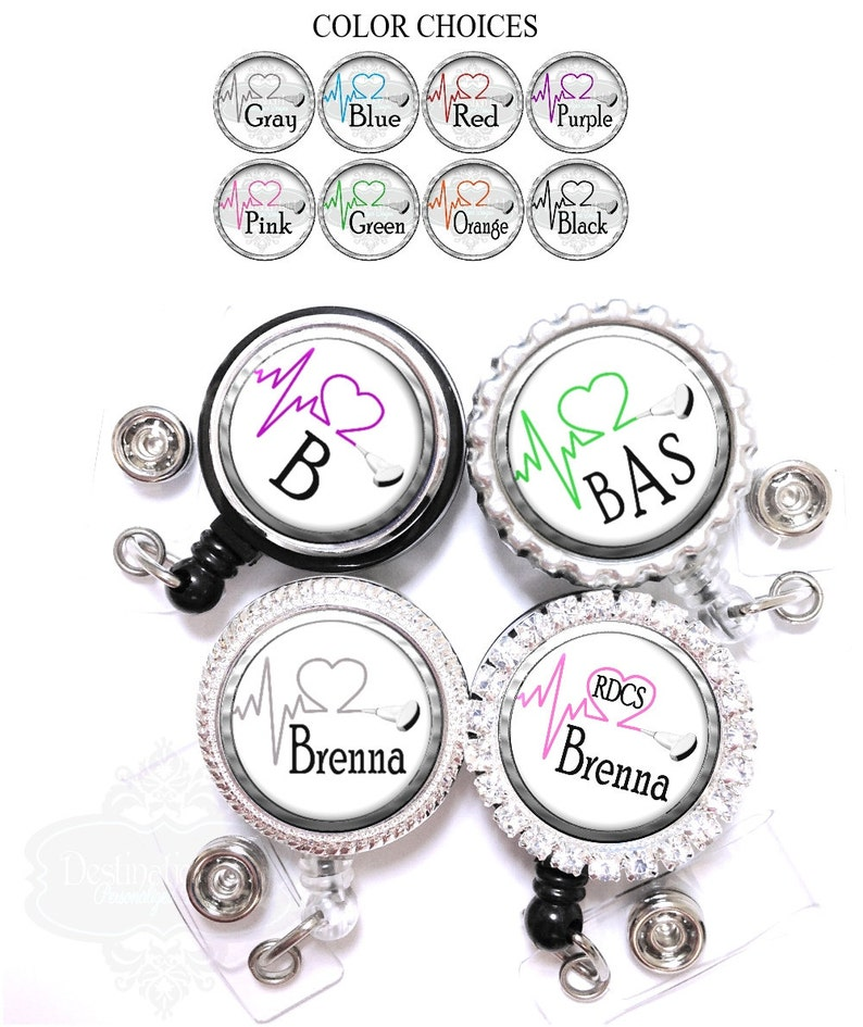 Pink and Green Monogrammed Retractable ID Badge Reel