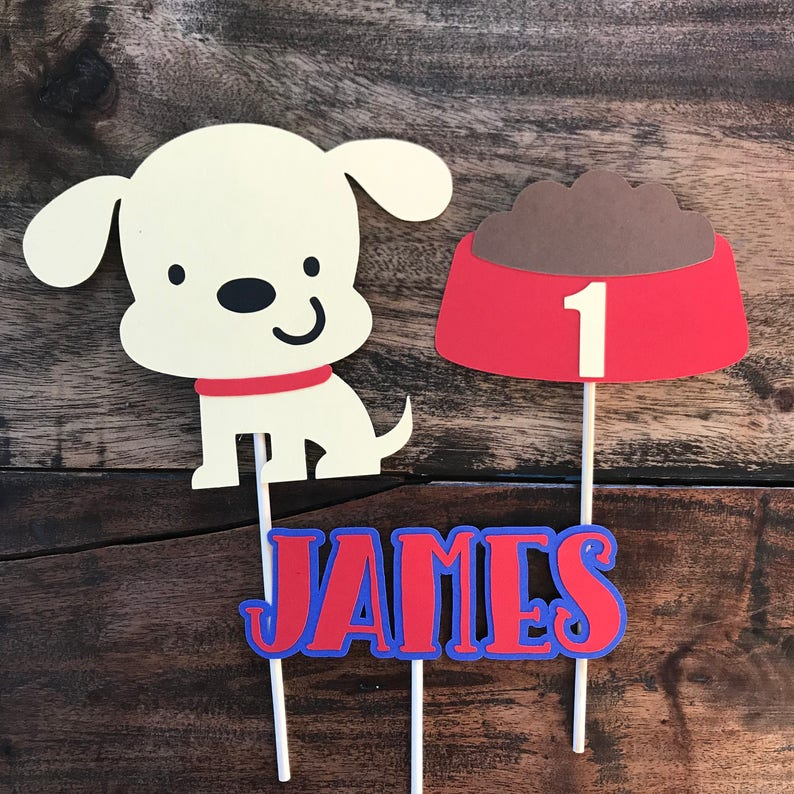 Dog Cake Topper With Childs Name First Birthday Smash Cake