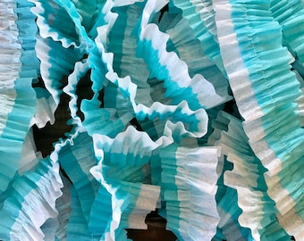 Ruffled Crepe Paper Streamers-White And Blue, Frozen Themed Party, Party Decorations