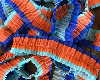 Ruffled Crepe Paper Streamers- Light Blue, Dark Blue, Orange, Party Decorations