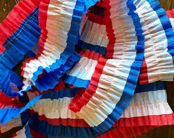 Ruffled Crepe Paper Streamers- Party Decorations, Red, White, Blue, Fourth Of July