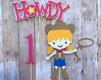 Cowgirl Cake Topper- First Birthday, Smash Cake