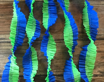 Ruffled Crepe Paper Streamers- Dinosaur Party, Blue And Green, Party Decorations