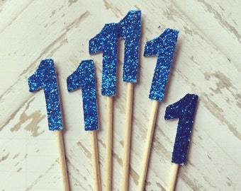 2 Dozen Royal Blue ONE Glitter Cupcake Picks