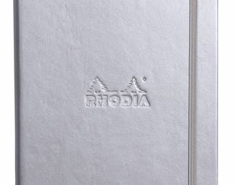 Rhodia Web Notebook Silver A5 5.5 x 8.25 - Dot Grid 90g paper