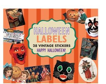 Halloween Labels - 24 Vintage Stickers