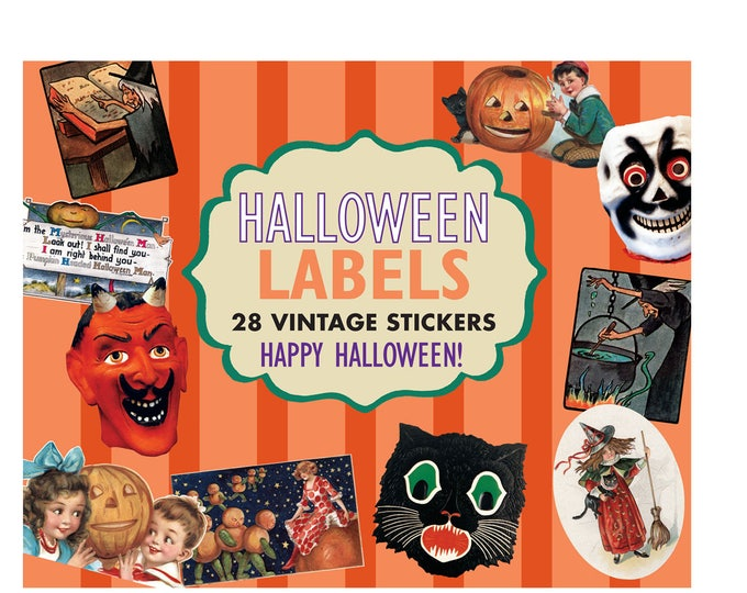 Featured listing image: Halloween Labels - 24 Vintage Stickers