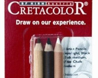 Cretacolor 3 Assorted Artists' Pencils Carded