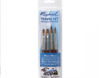 Raphael Travel Precision Brush Set Round 01, 02 Flat 02, Filbert 02
