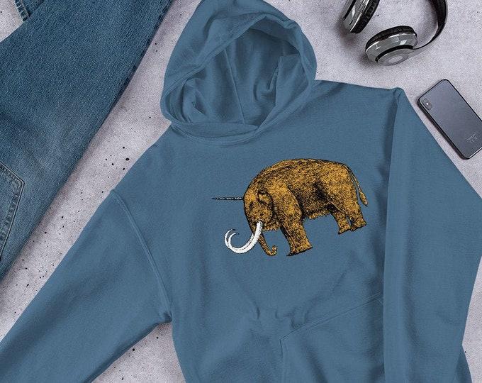 Featured listing image: Uni Mammoth Unisex Hoodie, Hoodie in Five colors, Woolly Mammoth Hoodie