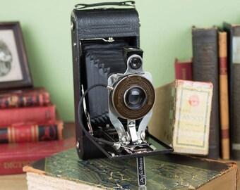 Ansco No 1A Readyset Camera with Black Bellows and Original Box - Vintage