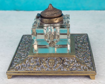 Rococo Style Crystal and Brass Inkwell